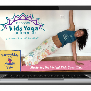 instructor doing side plank pose shown on computer screen