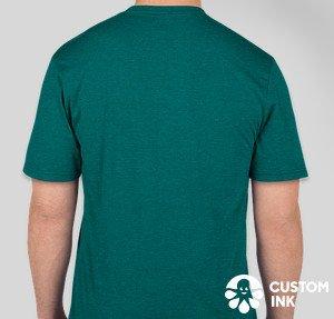 rear view of green t-shirt, men's cut