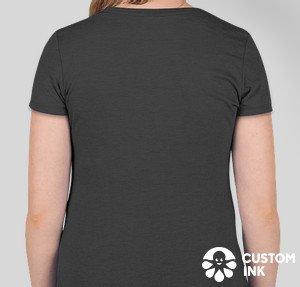 rear view of women's cut t-shirt, grey