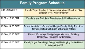 family yoga program schedule grid