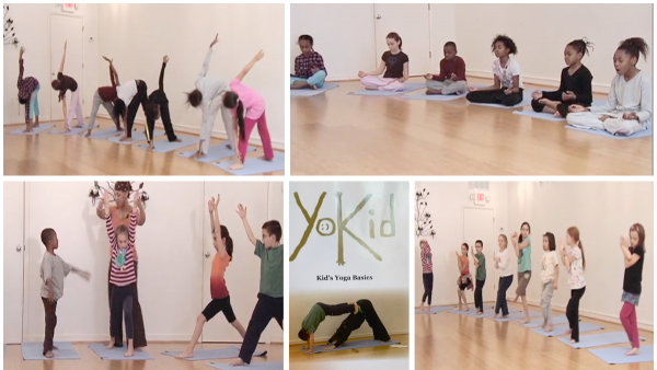 collage of screenshots from course video - kids doing yoga