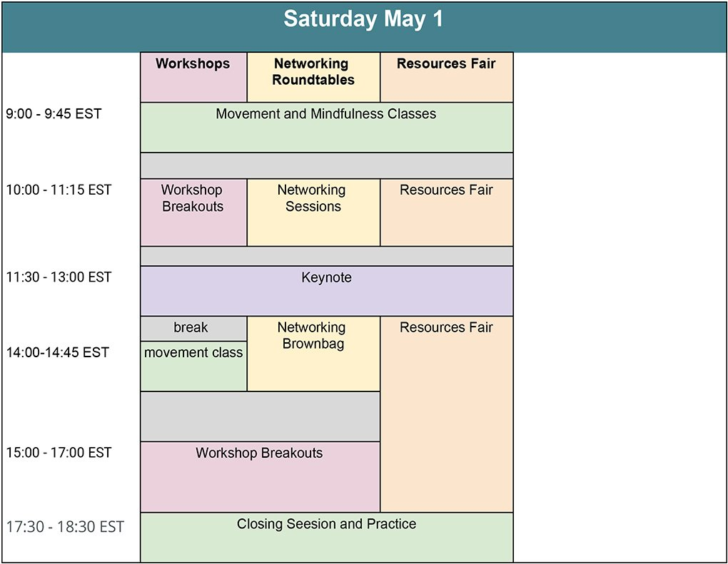 graphical version of the schedule - scroll down for a link to the html text version
